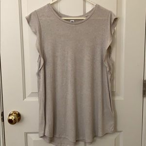 Nude tank with frilly sleeves!